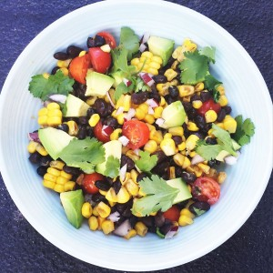 Sweetcorn and blackbean salad