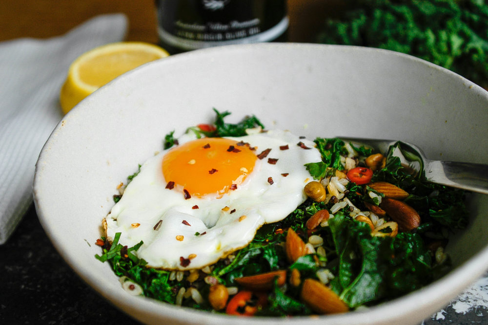 kale and almond fried rice