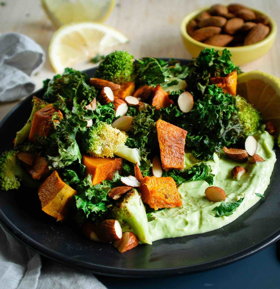 Roasted kale, pumpkin and almond salad