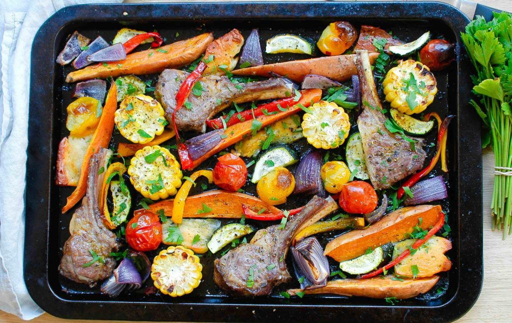 One tray mediterranean lamb and halloumi