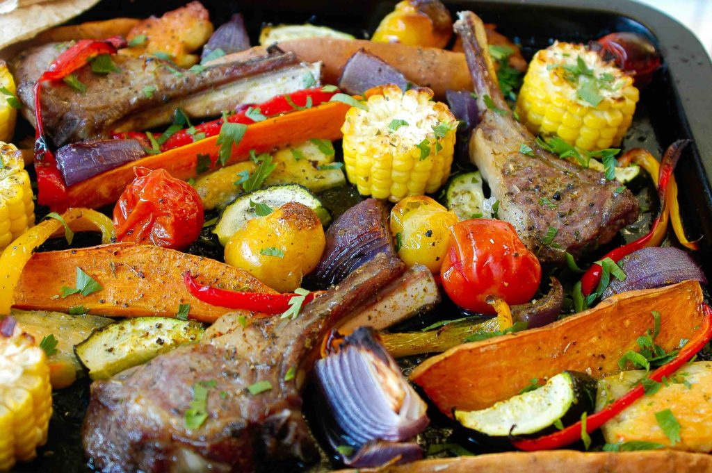 One Tray Mediterranean Lamb & Halloumi